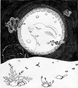 Місячне озеро. ілюстрація Надії Вишневської.