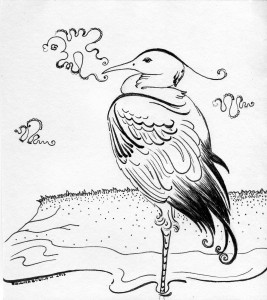 Чапля і рак. Ілюстрація Надії Вишневської.