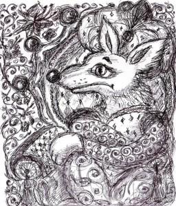 Блакитний шакал. Ілюстрація В.Папонової.